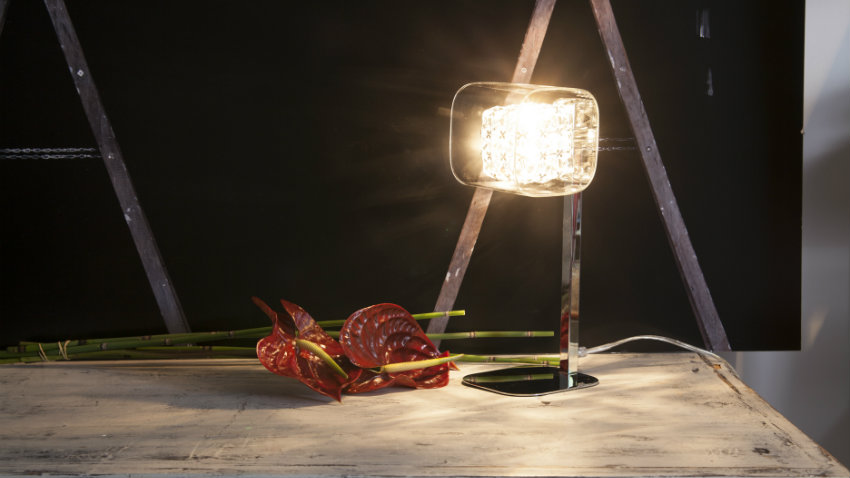design glazen bureaulamp