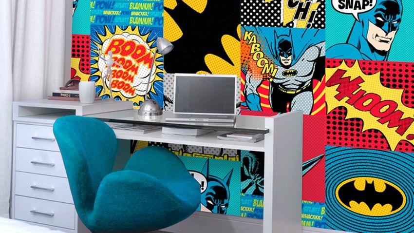 batman behang wit bureau groene stoel