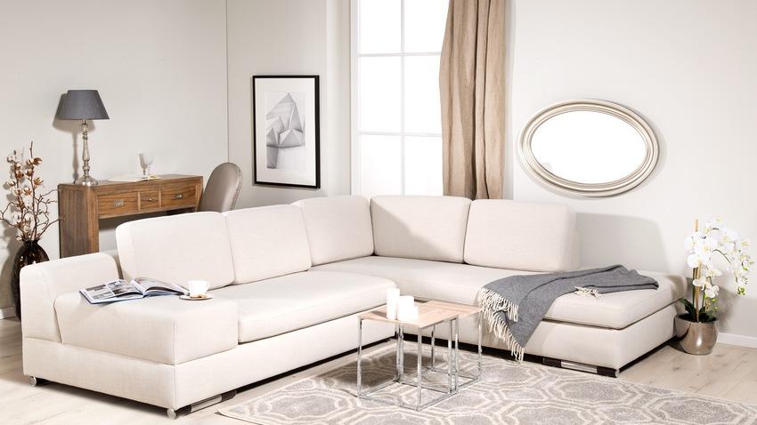 roomwitte leren hoekbank in moderne woonkamer