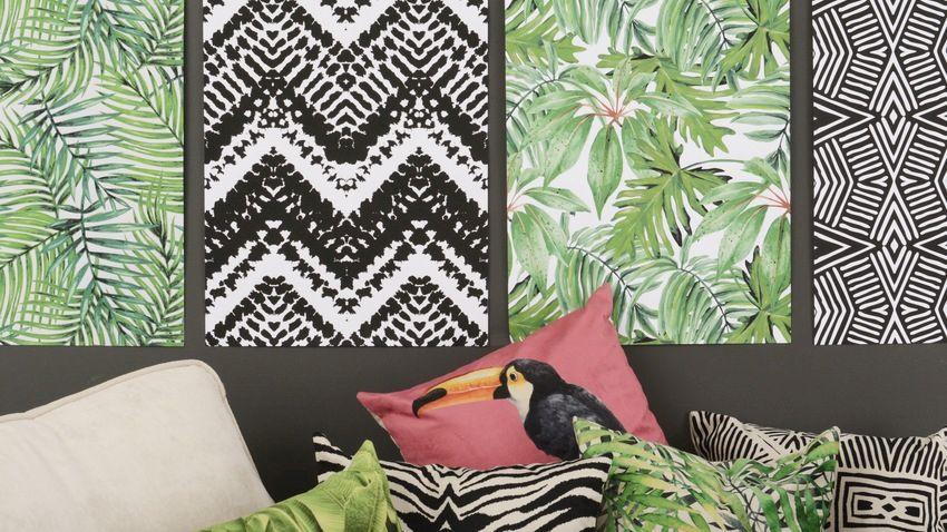 tropisch behang in zwart wit en groen