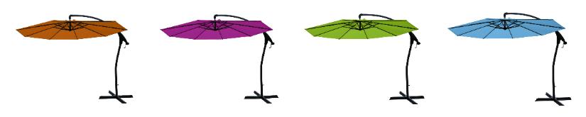 parasols zweven roze groen zwarte voet metaal