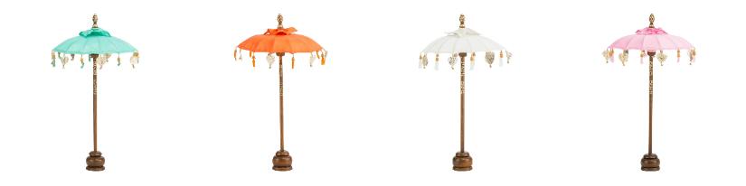 klassieke romantische parasols oranje wit groen houten voet
