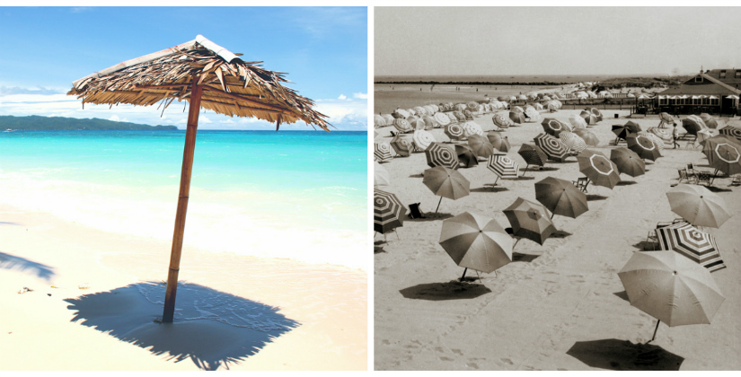 parasols beach wit strand blauwe zee gestreept