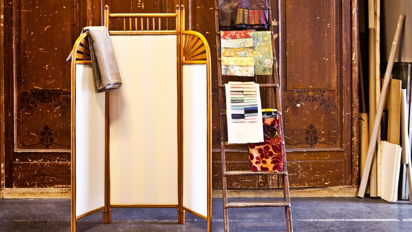 retro houten kamerscherm badkamer