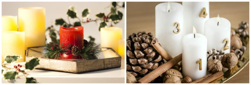 Kerst tafeldecoratie gekleurde kaarsen spiegel groene takken dennenappels