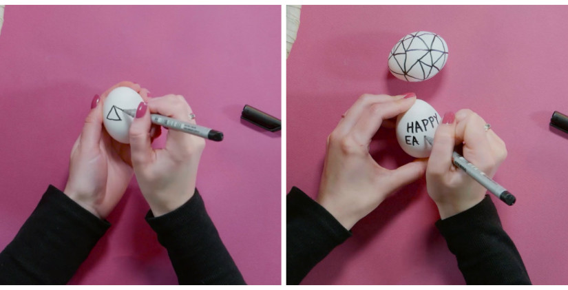 paaseieren versieren teken stift zwart simpel patronen