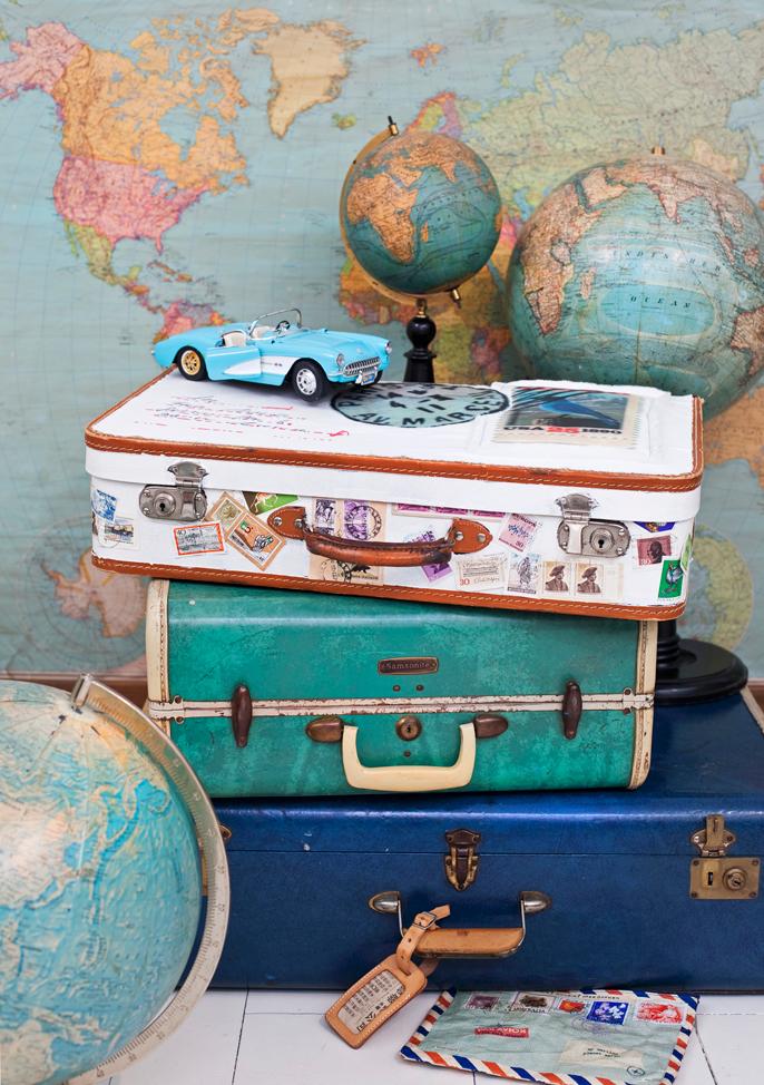 Valentijnsdag map en koffers