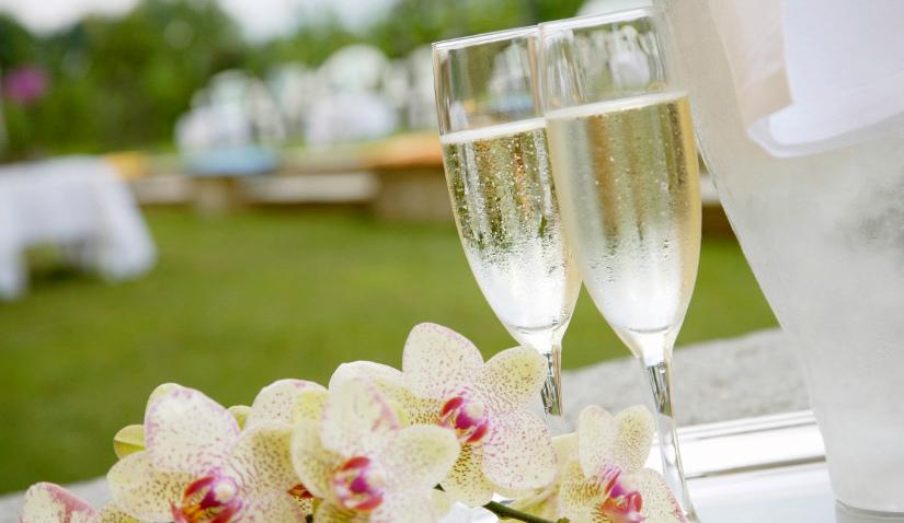 Huwelijkscadeaus twee champagneglazen orchidee tuin groen klassiek