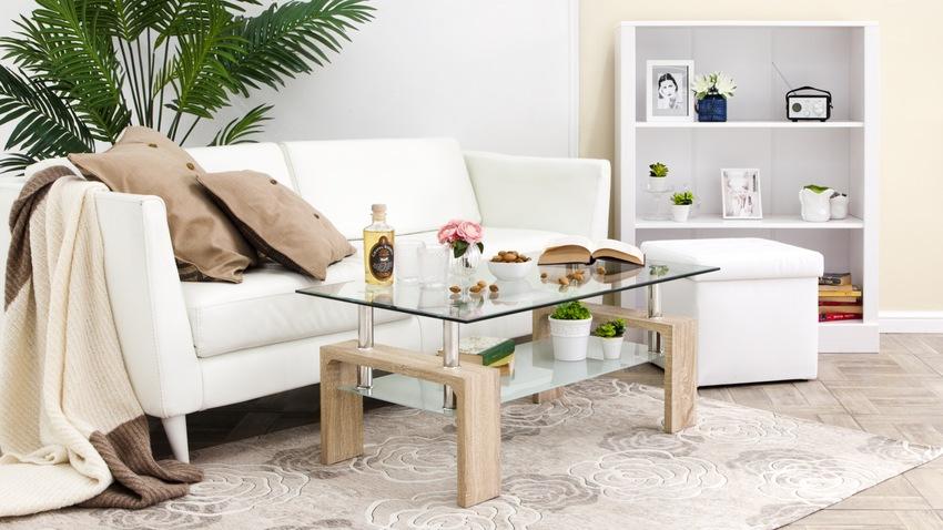 glazen salontafel op houten onderbouw