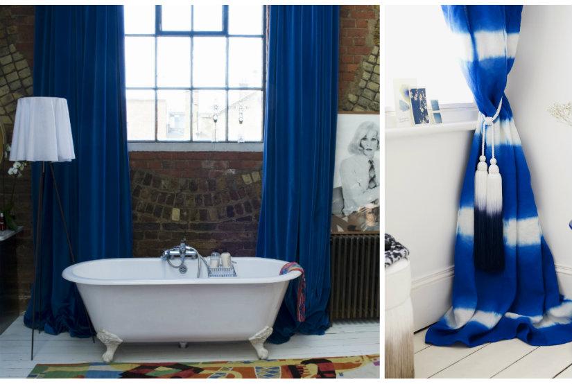 raambekleding boho stijl interieur kobalt blauwe kleur raam wit