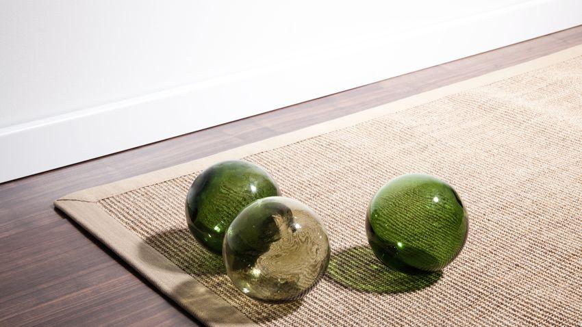 sisal vloerkleed glazen decoratiebollen