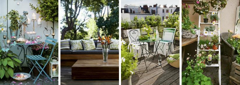balkon inrichting stijlen modern klassiek romantisch brocant bloemen