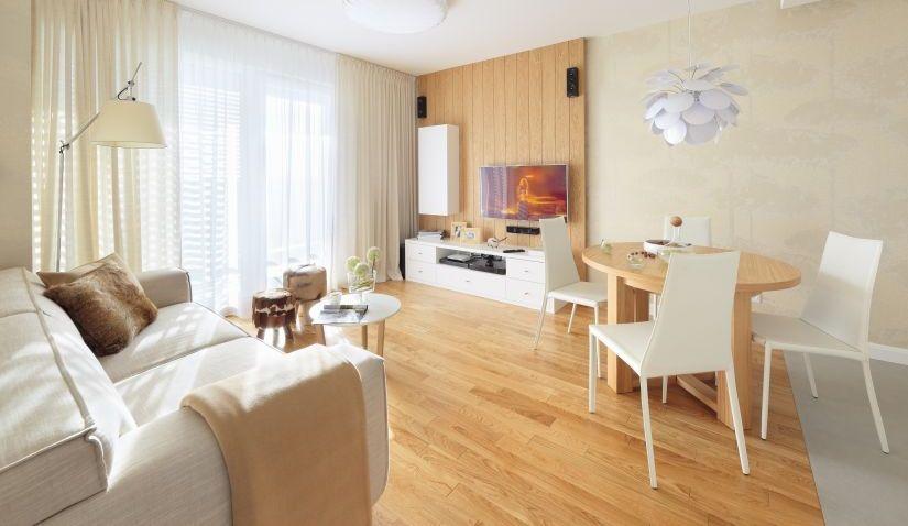 kurkvloer in lichte woonkamer houten details