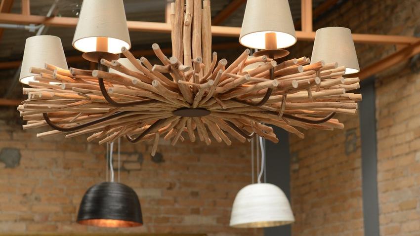 moderne houten hanglamp