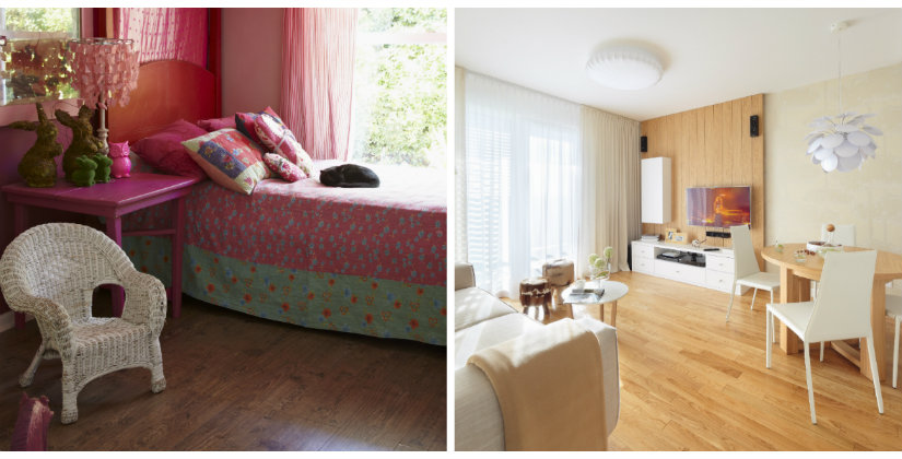 pvc vloer moderne woonruimte boho stijl roze paars hout
