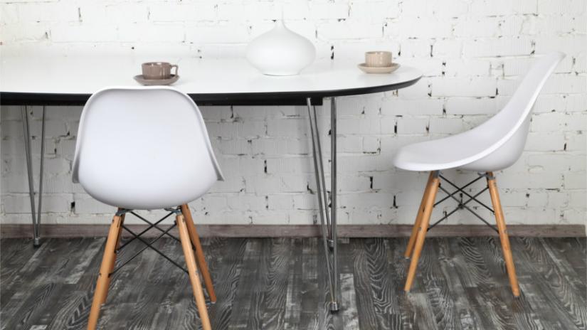 pvc vloer moderne stijl design stoel wit houten poot grijs