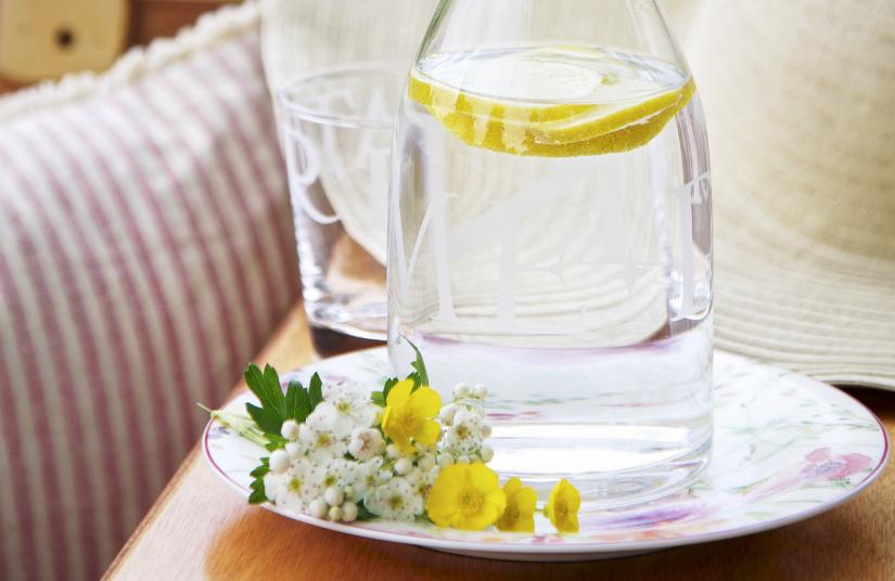 waterfles met filter klassieke waterkan bloemen geel citrus