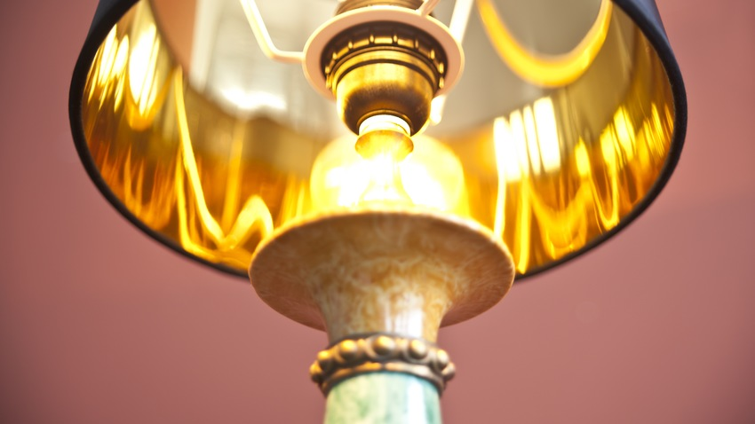 koperen lamp met kap