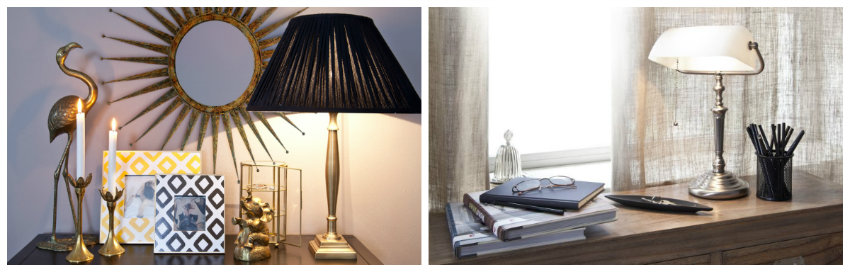koperen lampen op tafels