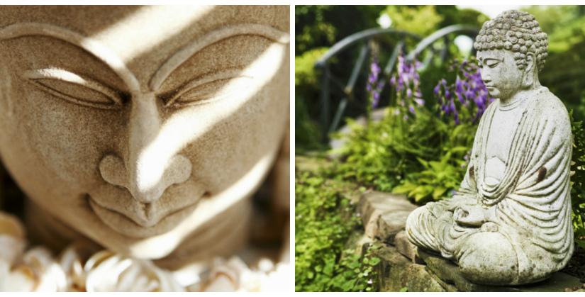 oosterse tuinen witte boeddha zonlicht crème kleur