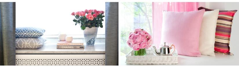 raamversiering hoekje kussens raam roze bloemen boek blauwe gordijnen