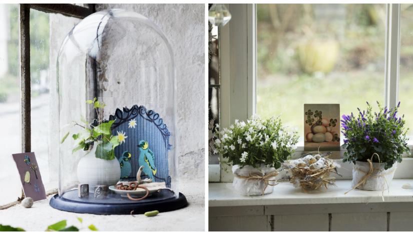 raamversiering stolp blauw plantjes eitjes paarse witte bloemetjes