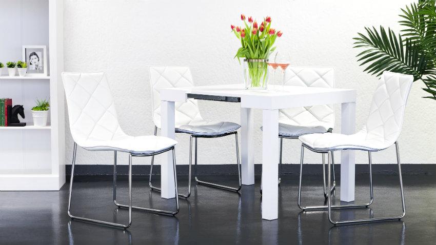 moderne witte uitschuifbare tafel