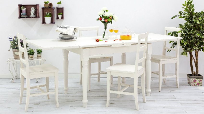 witte landelijke uitschuifbare tafel