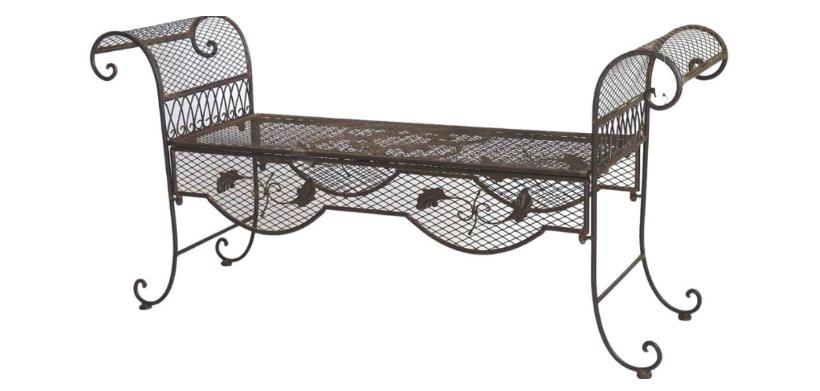 metalen tuinmeubelen bankje donker klassiek romantische stijl