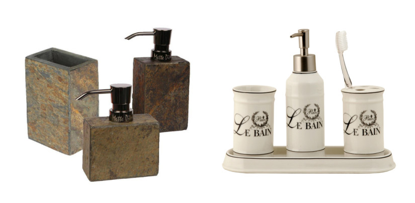 landelijke badkamer wit bruin houders accessoires