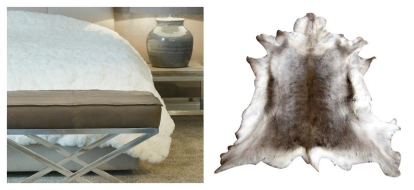 witte slaapkamer dierenvacht rendier grijstinten klassieke stijl inrichting