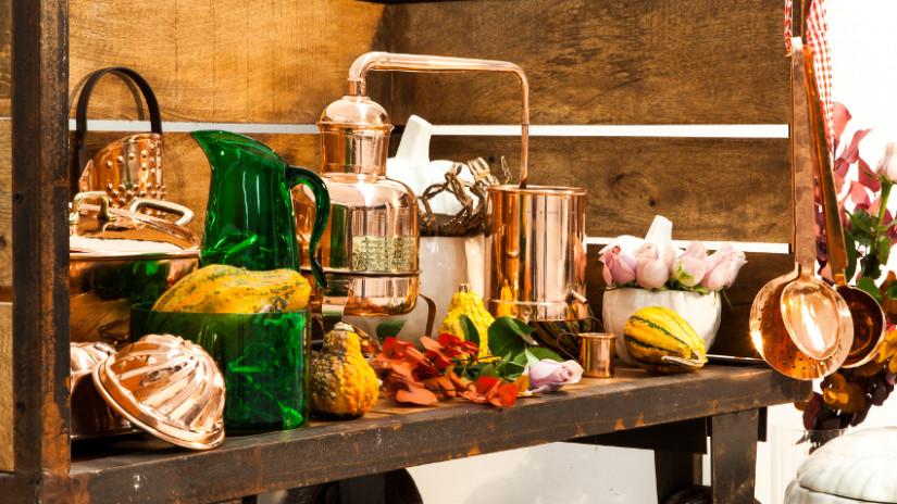Brocante-keuken-hout-koper-groen