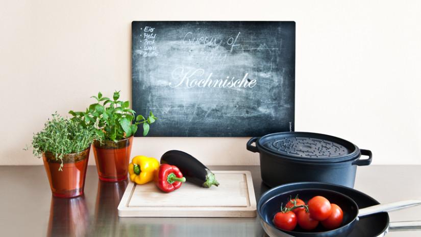 brocante keuken krijtbord groente pannen