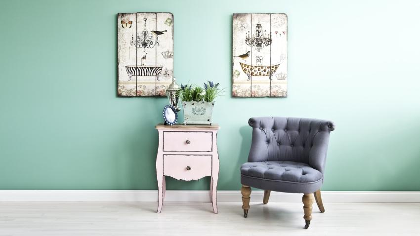 turquoise behang wandpanelen kleine fauteuil