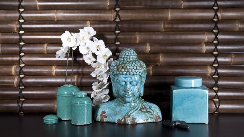 dekbedovertrek boeddha blauw beeld