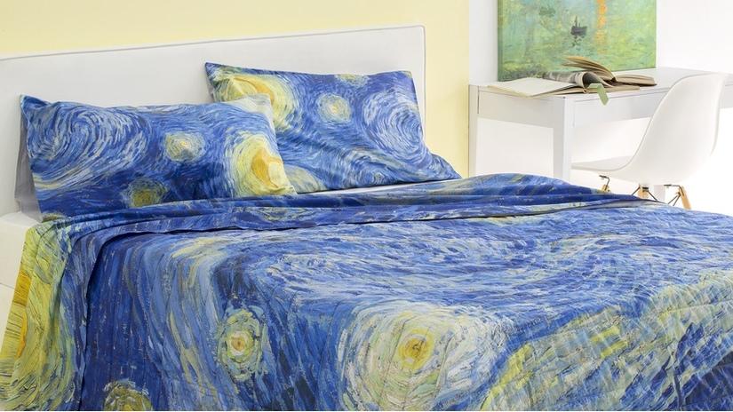 dekbedovertrek strand in landelijke slaapkamer