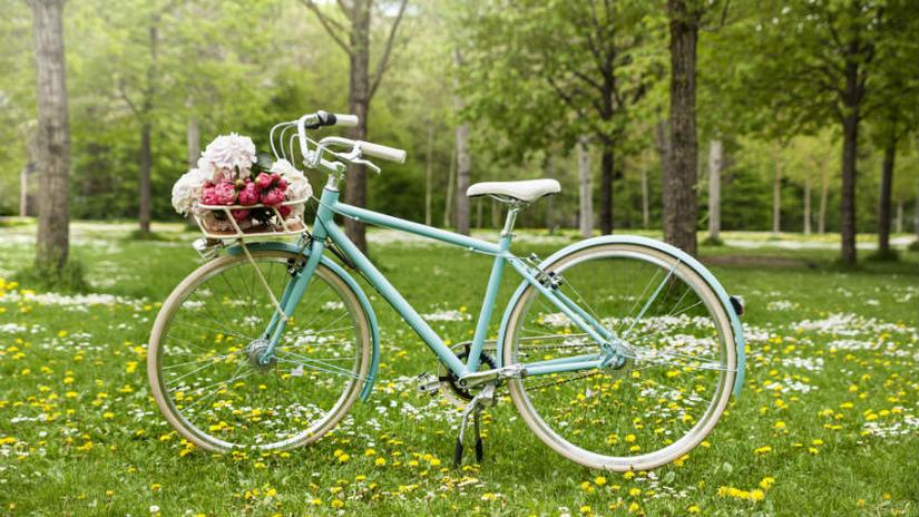 fietsaccessoires kind zeegroene fiets met bloemen