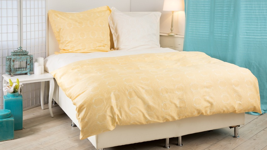 geel lits jumeaux dekbed