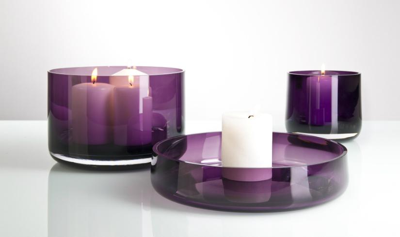 paarse kaarsen drie glazen kaarsenhouders lila kleur wit