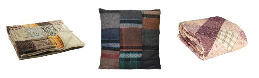 Patchwork sprei bruine kleuren kussens dekens meerdere kleuren