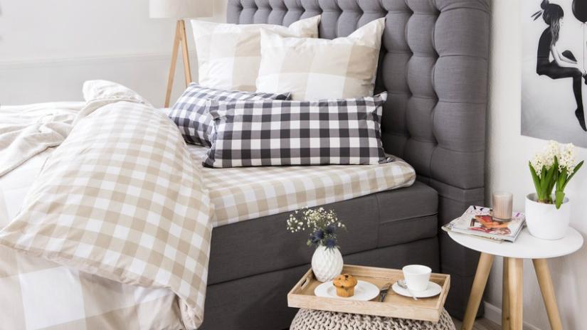 Perkal dekbedovertrek ruitenprint klassiek romantische stijl grijze kleur
