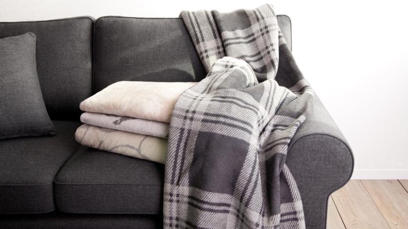 plaid grijs traditionele ruit wit grijstinten bank fleece