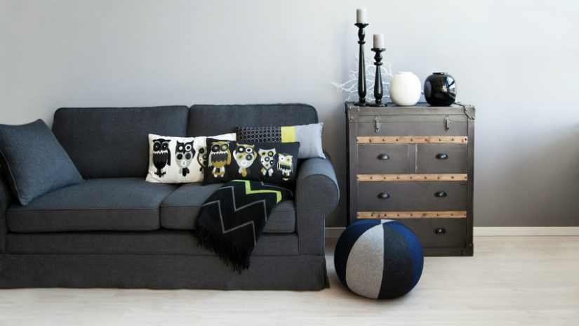 plaid zwart moderne stijl figuren bank uilen patronen