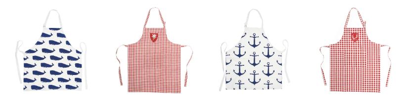 plastic schort ruiten klassieke print anker walvis donkerblauw