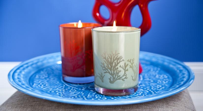 rode kaarsen houder boho stijl azuur blauw schaal