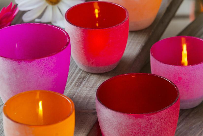 rode kaarsen combinatie oranje kaarsenhouder Boho woonstijl