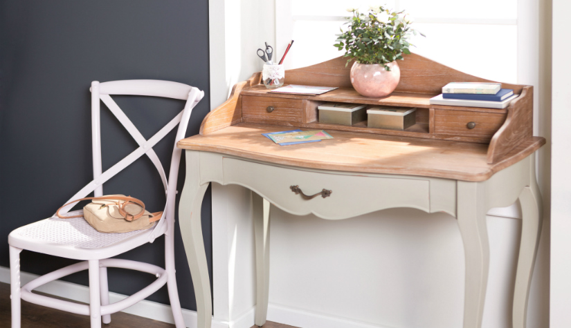 roze bureau klassieke stijl tafel pastelkleur plant