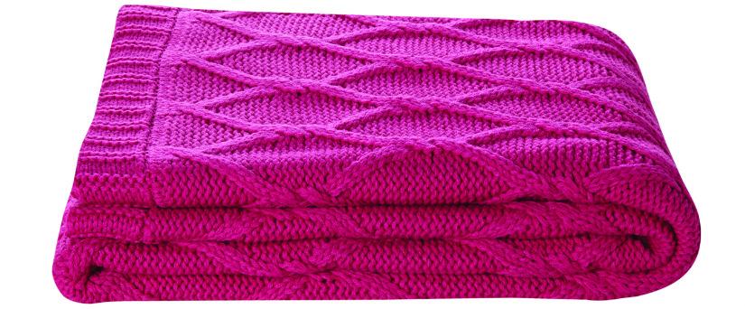 roze plaid fel roze brei patroon klassieke stijl Boho