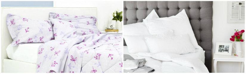 dekbed 140x220 met witte kussens en met bloemetjespatroon