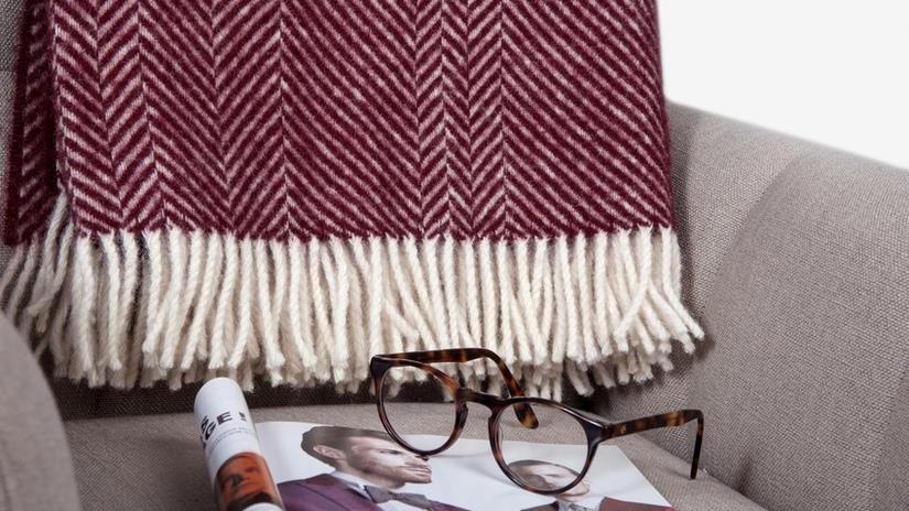 Wollen plaids klassieke kleur stijl donkerrood leesbril